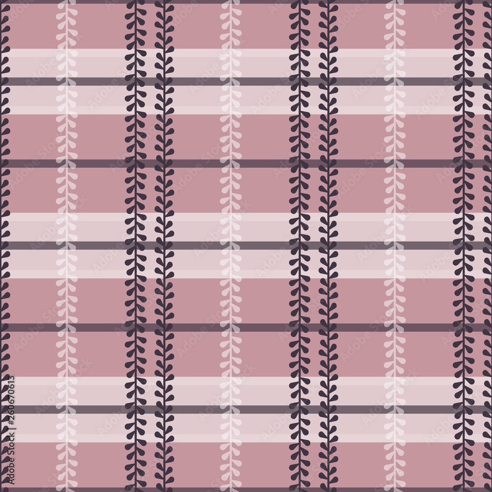 Vector Folklore Plaid with Periwinkle in Dusty Pink seamless pattern background.