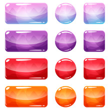 Colorful Rounded Square, Rectangle And Circle Glossy Buttons Set, Vector Assets For Web Or Game Design, App Icons Vector Template Isolated On White Background.