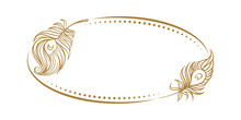 Vector Vintage Horizontal Oval Frame With Peacock Feathers Decoration