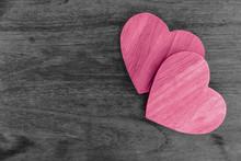 Couple Wood Hearts Pink Love O...