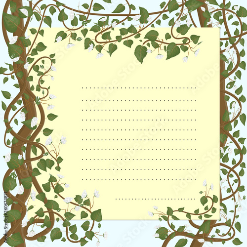Greeting card with botanical ornament of stems, white flowers and green leaves Wallpaper Mural