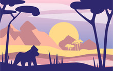 Beautiful Scene Of Nature, Peaceful Afrian Mountain Landscape With Gorilla, Template For Banner, Poster, Magazine, Cover Horizontal Vector Illustration