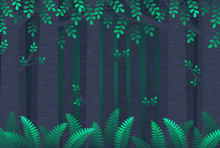Vector Gradient Illustration Of Mysterious Twilight Forest.