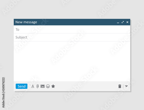 Cuadros en Lienzo Email blank template internet mail frame interface for mail message