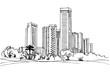 Tel Aviv, Israel. Urban landscape. Ink line sketch on white background