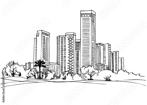 Tel Aviv, Israel. Urban landscape. Ink line sketch on white background