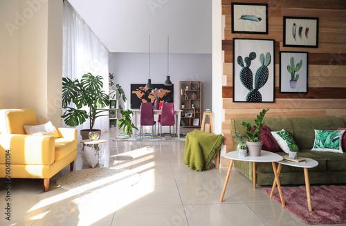 Photo  Stylish interior of modern studio apartment