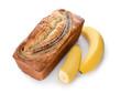 Leinwandbild Motiv Tasty banana bread on white background