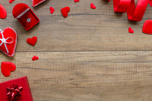 Overhead Flat Lay Valentine Day, Romantic Suggestions Background. Red Hearts, Jewelery Box With Ring And Ribbon On Wood Shabby Background. Copy Space Inspiration For Holiday Of Love.