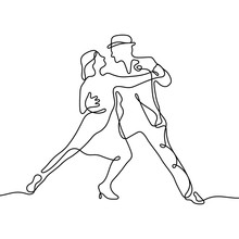 Tango Continuous Line Vector Illustration