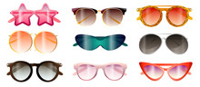Set Of Modern Colorful Sunglasses Summer Beach Time