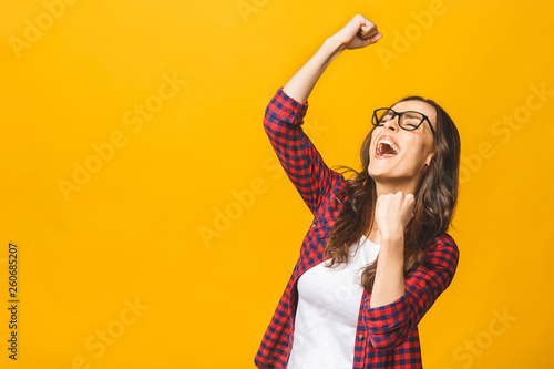 Fotografiet  Winning success woman happy ecstatic celebrating being a winner