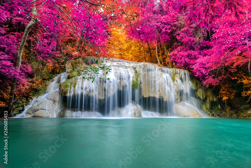 Cadres-photo bureau Cascades Amazing in nature, beautiful waterfall at colorful autumn forest in fall season