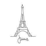 Fototapeta Fototapety z wieżą Eiffla - Paris, Eiffel Tower continuous line vector illustration