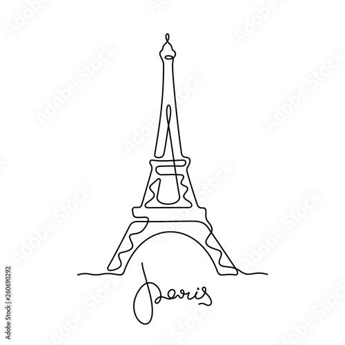 Paryż, Wieża Eiffla ciągła linia ilustracji wektorowych