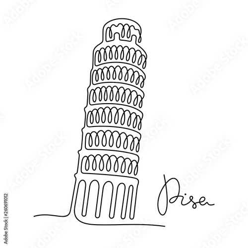 Fototapeta Pisa continuous line vector illustration
