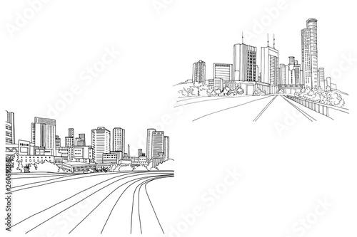 Modern urban landscapes. Hand drawn line sketches. Tel Aviv, Israel. Vector illustration on white