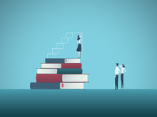Power Of Education And Knowledge Vector Concept. Girl, Woman Standing On Top Of Books Drawing Steps. Symbol Of Ambition, Motivation, Confidence, Excellence, Talent And Skill.
