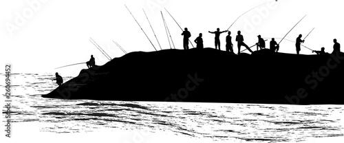 Obraz na plátně large fishermen group silhouettes isolated on white