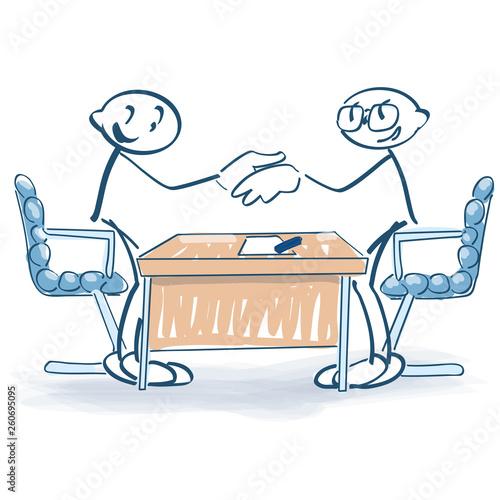 Papel de parede Strichmännchen mit Vertragsabschluss und  Händeschütteln