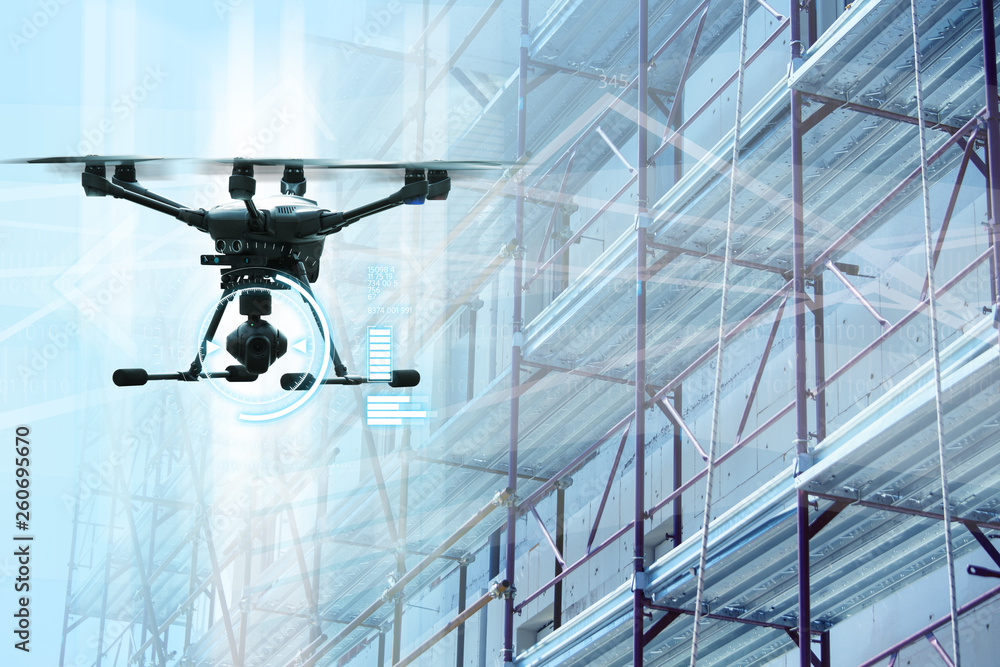 Fototapety, obrazy: Drone on a background of a scaffolding.
