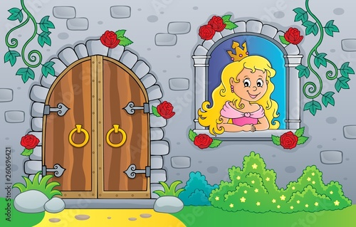 Princess in window and old door