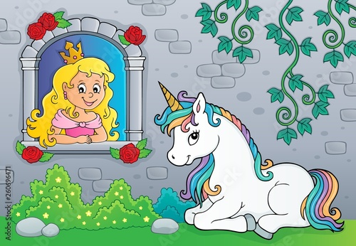 Princess in window and unicorn theme 1