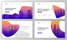 Landing Page Templates Set For Business Website. Modern Web Page Design Concept Layout For Website. Vector Illustration. Brochure Cover, Facebook Banner, Keynote Presentation Template.