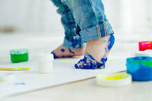 Little Baby Feet In Paint