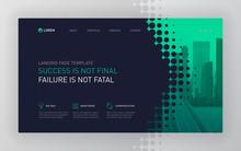 Landing Page Template For Business. Modern Web Page Design Concept Layout For Website. Vector Illustration. Brochure Cover, Web Banner, Website Slide, Powerpoint Presentation Template.