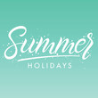 Hand drawn lettering summer with brush stokes on gradient background.Seasons greetings card design perfect for prints, flyers,banners,invitations,special offer and more. Vector summer illustration.