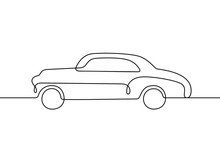 Retro Car Continuous Line Vect...