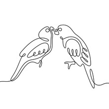 Lovebirds Continuous Line Vect...