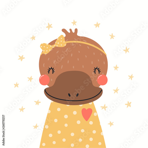 Hand drawn portrait of a cute platypus in shirt and ribbon, with stars. Vector illustration. Isolated objects on white background. Scandinavian style flat design. Concept for children print.