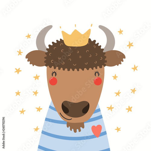 Hand drawn portrait of a cute bison in shirt and crown, with stars. Vector illustration. Isolated objects on white background. Scandinavian style flat design. Concept for children print.
