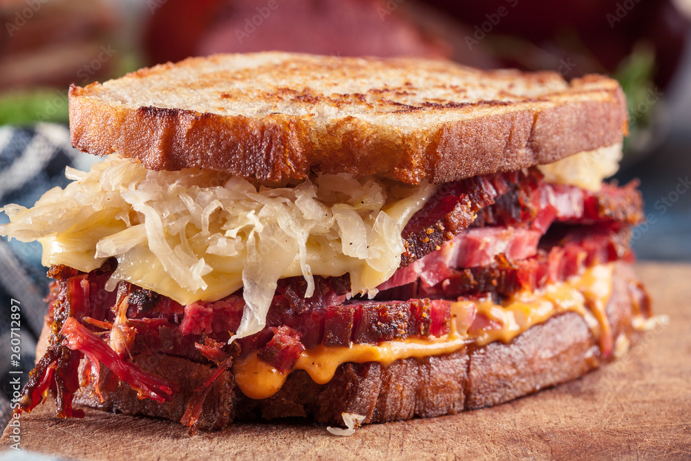 Fototapety, obrazy: Reuben Sandwich with corned beef, cheese and sauerkraut