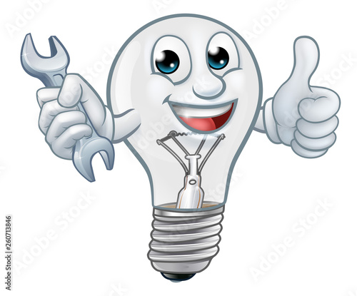 A light bulb cartoon character lightbulb mascot holding a spanner or wrench and Canvas Print