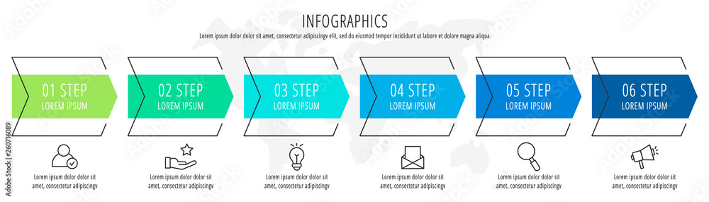 Fototapeta Modern vector flat illustration. Infographic arrows template with six elements, shapes, icons. Timeline designed for business, presentations, web design, interface, education, diagrams with 6 steps