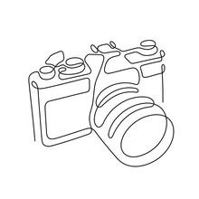 Photo Camera Continuous Line Vector Illustration