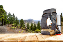 Backpack And Mountains Landsca...