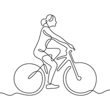 Woman Riding A Bike Continuous Line Vector Illustration