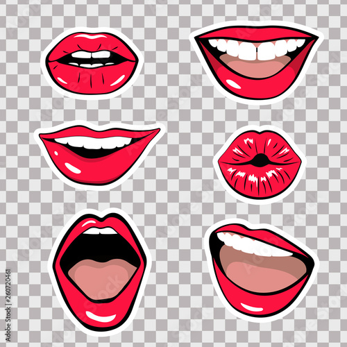 Set of stickers. Lips. Vector illustration