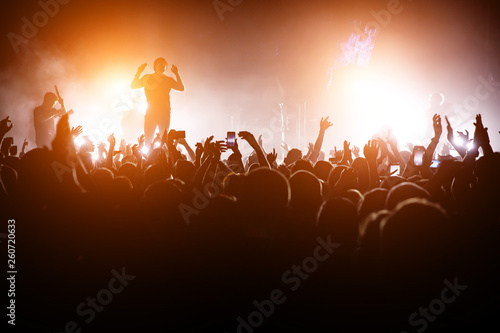 Rock concert. Leader on the stage. Silhouette of the crowd in front of the stage. - 260720633