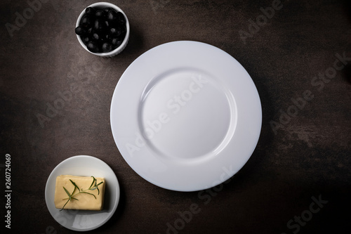 Foto op Plexiglas Table setting for a meal.White plate,