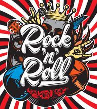 Stylish Vector Template For Printing On The Theme Of Rock Music With A Calligraphic Inscription Rock N Roll