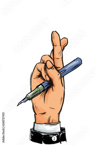 Hand von Geschäftsmann mit gekreuzten Fingern und Stift Canvas Print