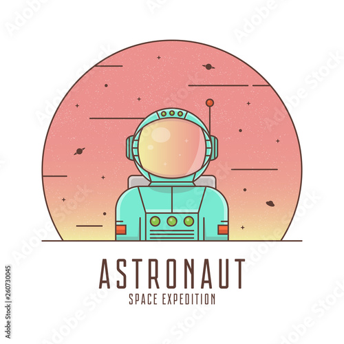 Astronaut in a space suit. Spaceman logo design