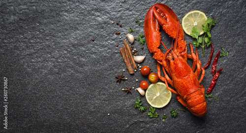 Obraz na płótnie Red lobster seafood with lemon herbs and spices on dark backgroud top view copy