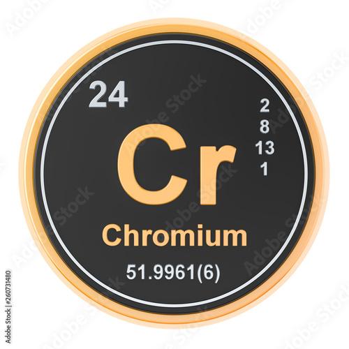 Fotografía  Chromium Cr chemical element. 3D rendering