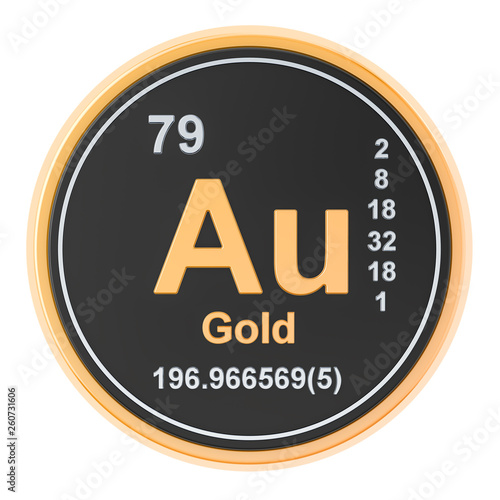 Photo Gold aurum Au chemical element. 3D rendering
